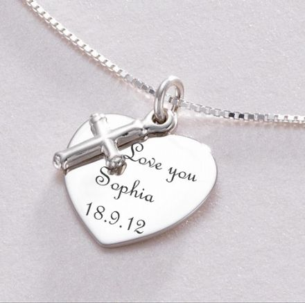 Engraved Heart and Cross Necklace